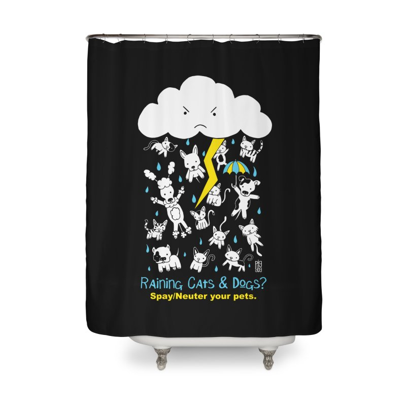 Raining Cats And Dogs Home Shower Curtain by Pigdog