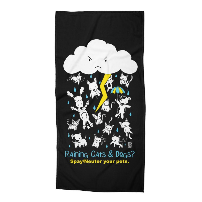 Raining Cats And Dogs Accessories Beach Towel by Pigdog