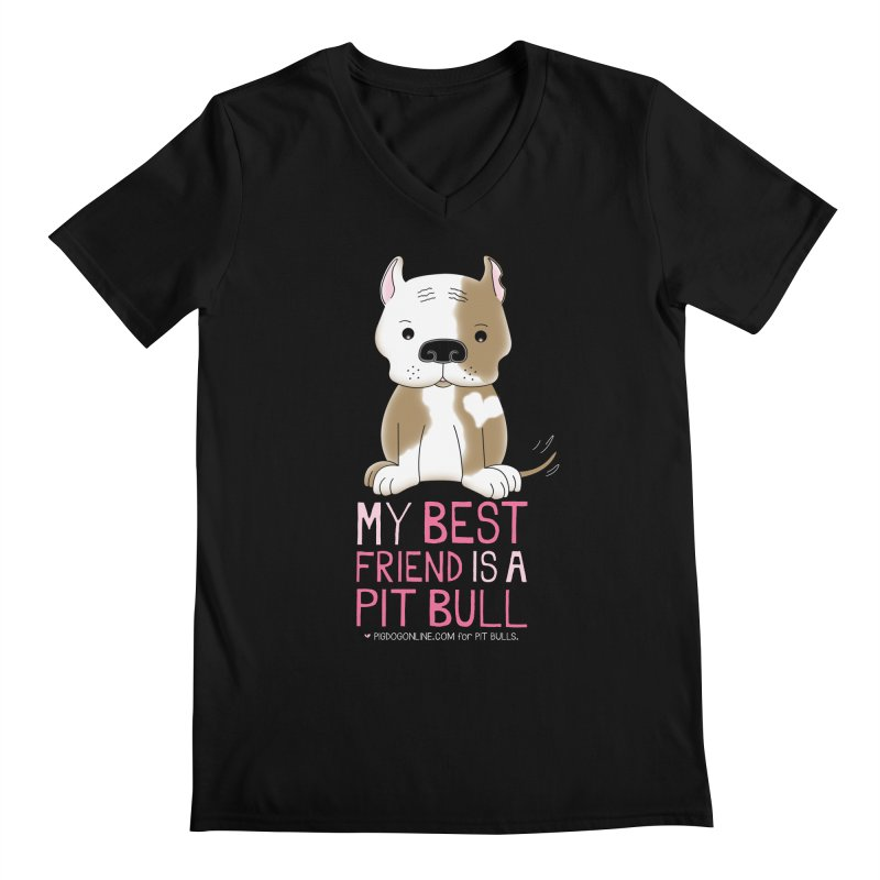 Best Friend Men's Regular V-Neck by Pigdog