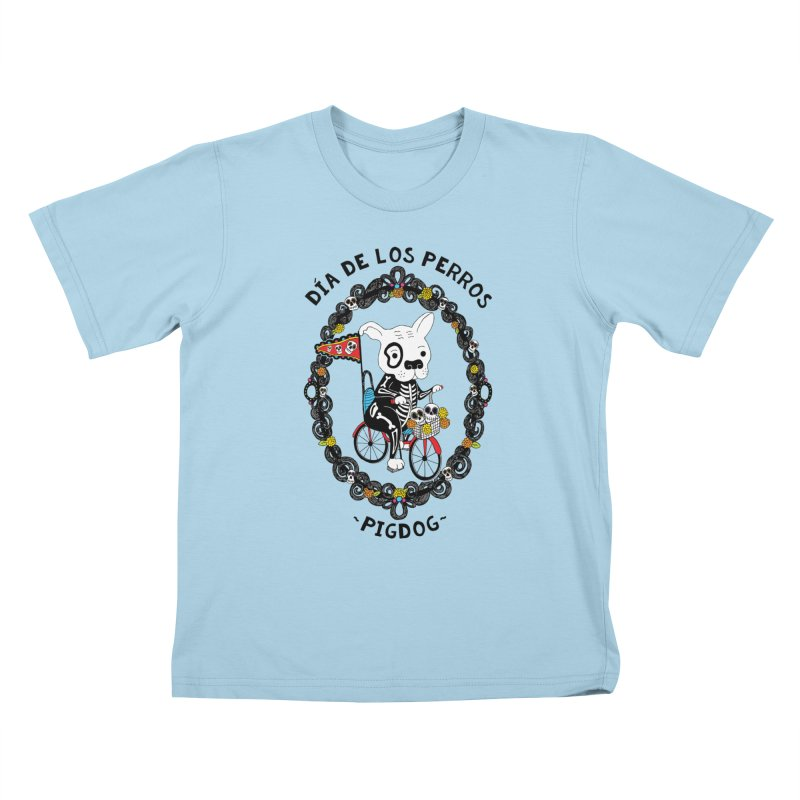 Day of the Dogs Kids T-Shirt by Pigdog