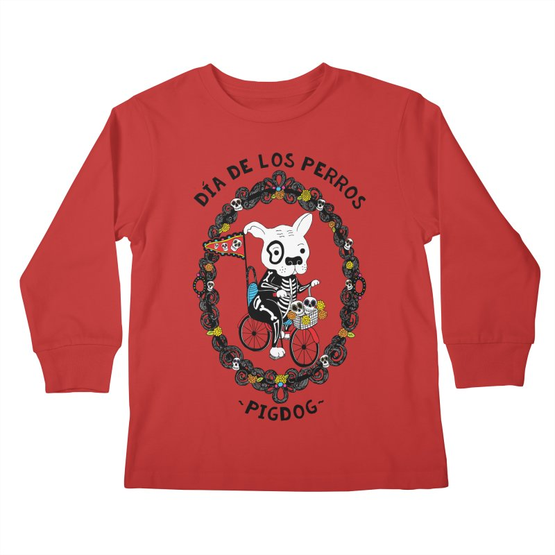 Day of the Dogs Kids Longsleeve T-Shirt by Pigdog