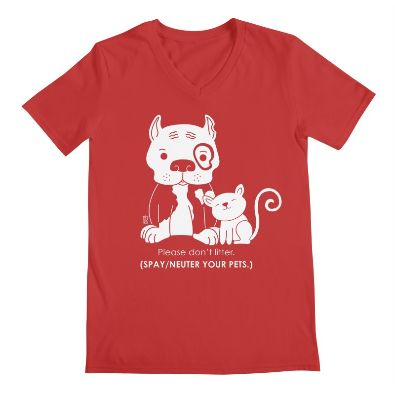 Don't Litter Men's Regular V-Neck by Pigdog