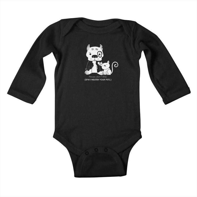 Don't Litter Kids Baby Longsleeve Bodysuit by Pigdog