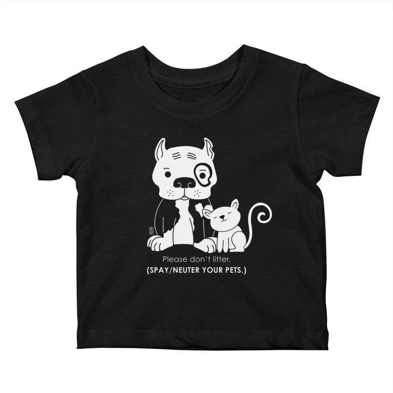 Don't Litter Kids Baby T-Shirt by Pigdog