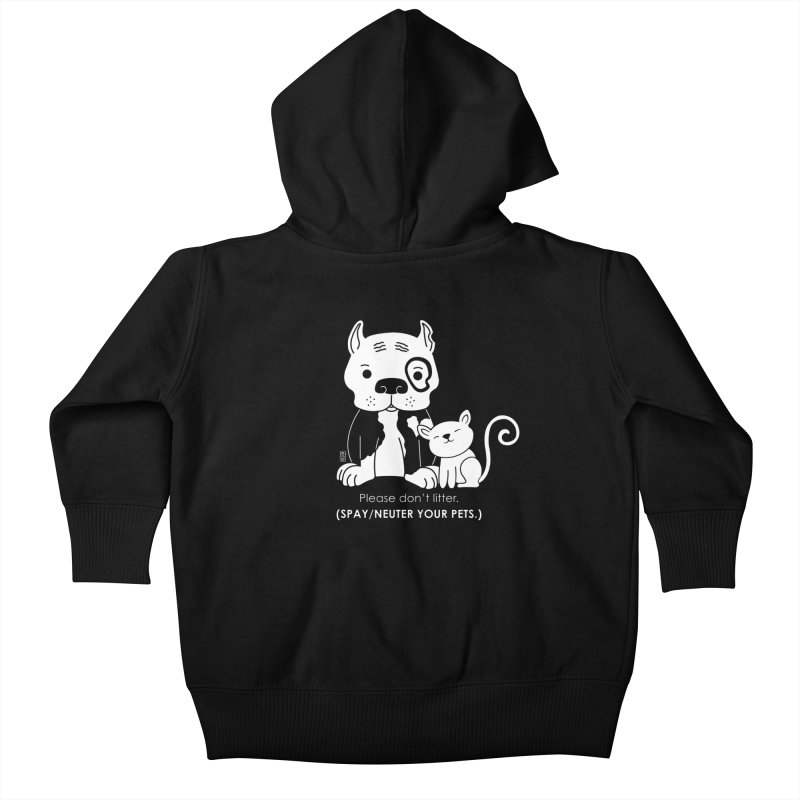 Don't Litter Kids Baby Zip-Up Hoody by Pigdog