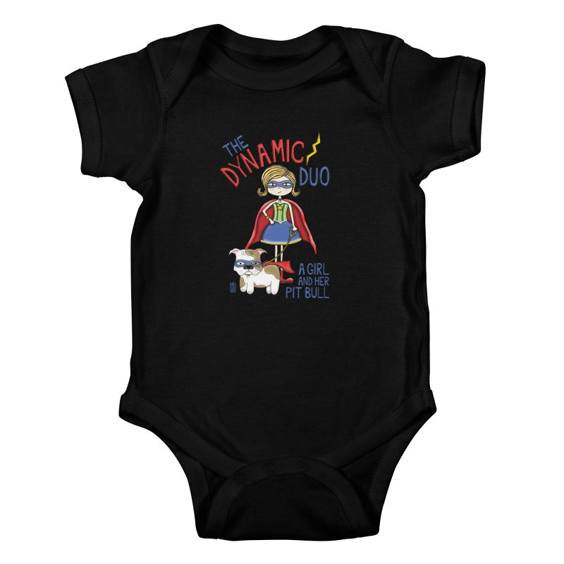 Dynamic Duo Kids Baby Bodysuit by Pigdog