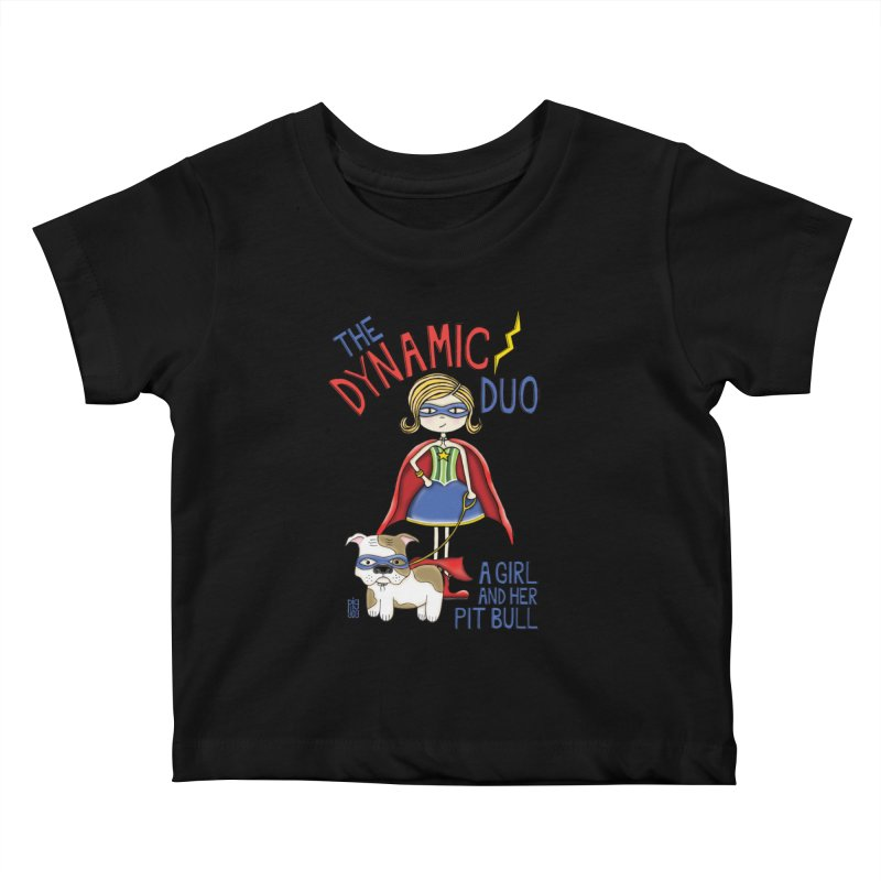 Dynamic Duo Kids Baby T-Shirt by Pigdog