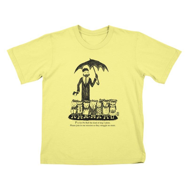 Gorey Homage Kids T-shirt by Pigdog