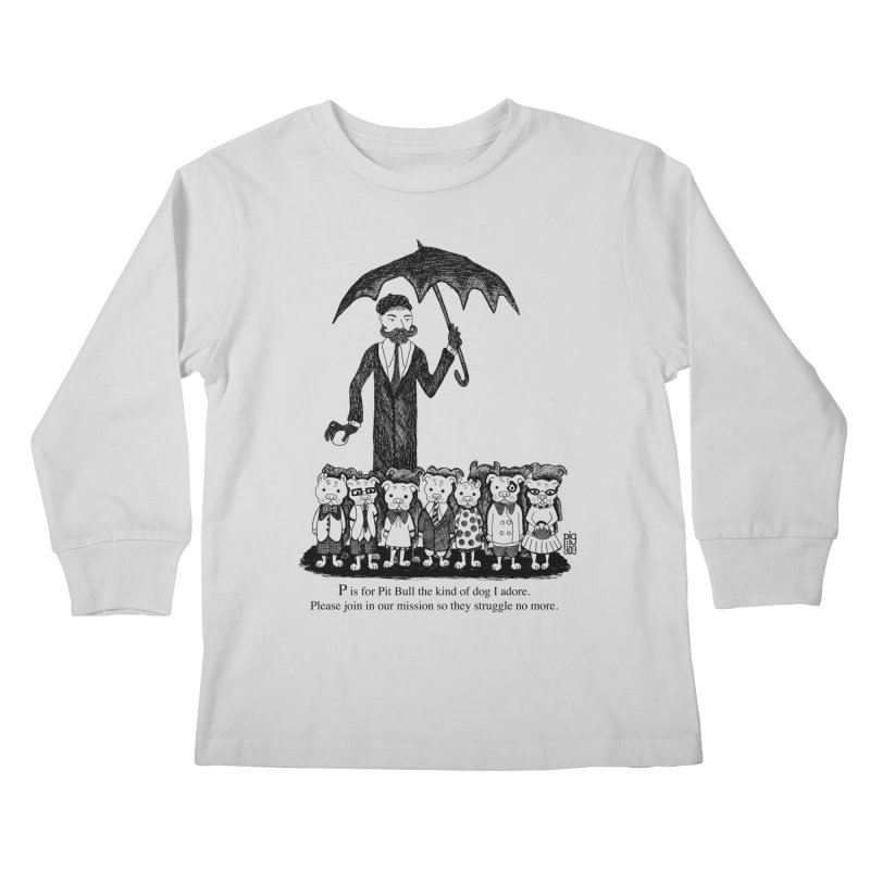 Gorey Homage Kids Longsleeve T-Shirt by Pigdog