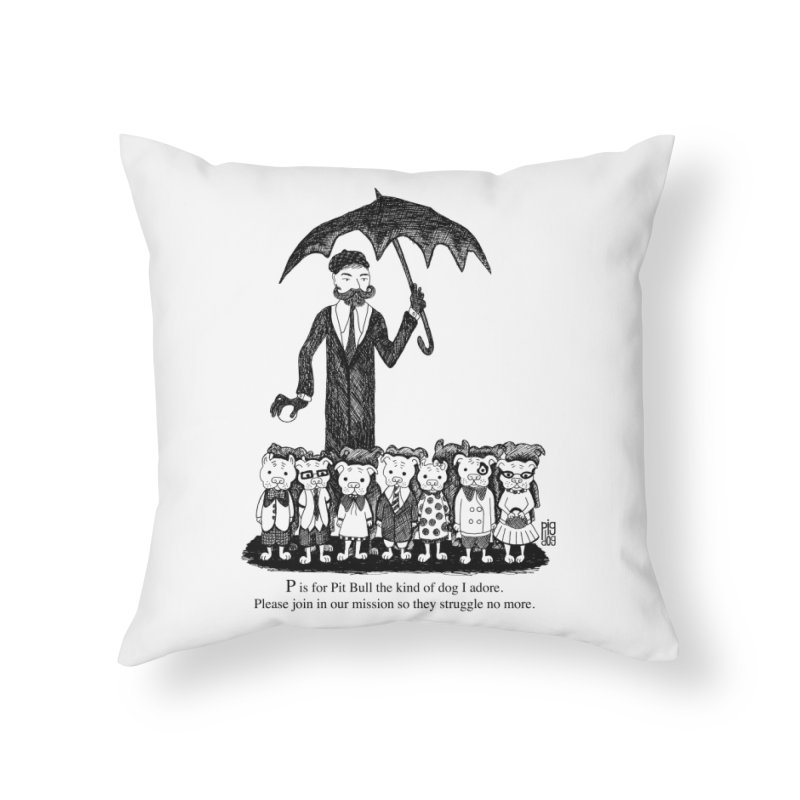 Gorey Homage Home Throw Pillow by Pigdog
