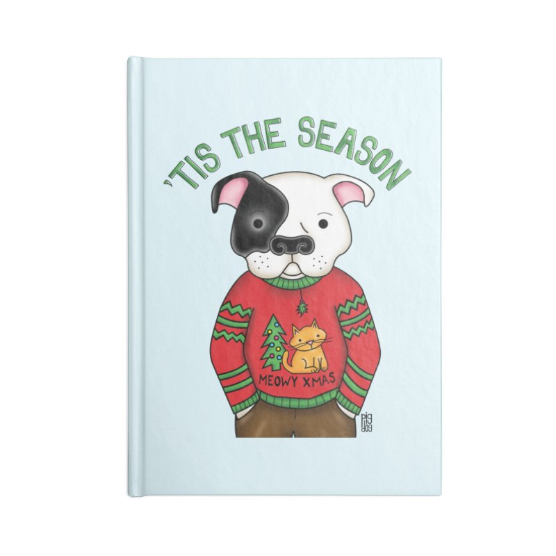 Ugly Xmas Sweater Accessories Lined Journal Notebook by Pigdog
