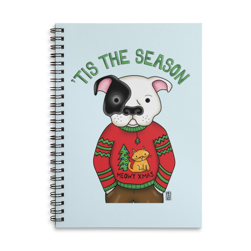 Ugly Xmas Sweater Accessories Lined Spiral Notebook by Pigdog