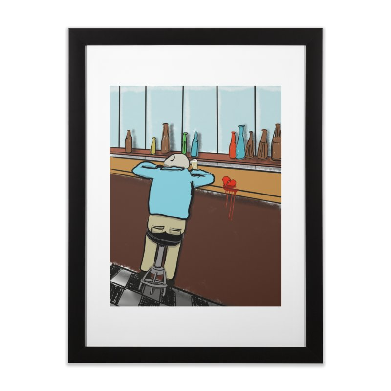 Drinking with a Broken Heart Home Framed Fine Art Print by Pigment Studios Merch
