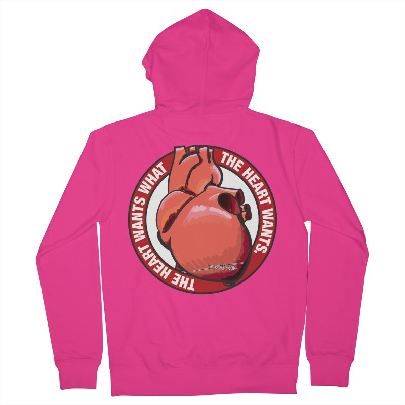The Heart Wants... Men's French Terry Zip-Up Hoody by Pigment Studios Merch