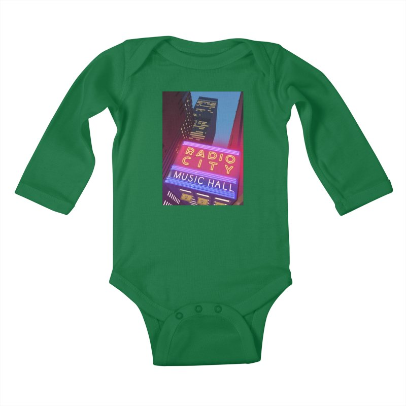 Radio City Music Hall Kids Baby Longsleeve Bodysuit by Pig's Ear Gear on Threadless