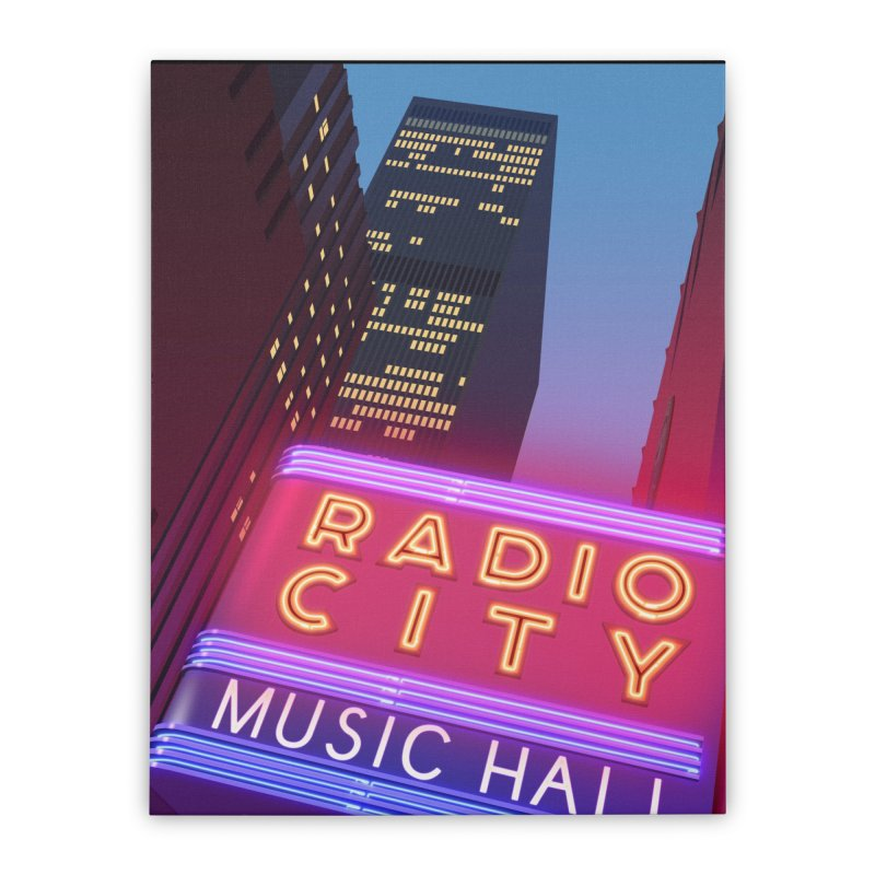 Radio City Music Hall Home Stretched Canvas by Pig's Ear Gear on Threadless