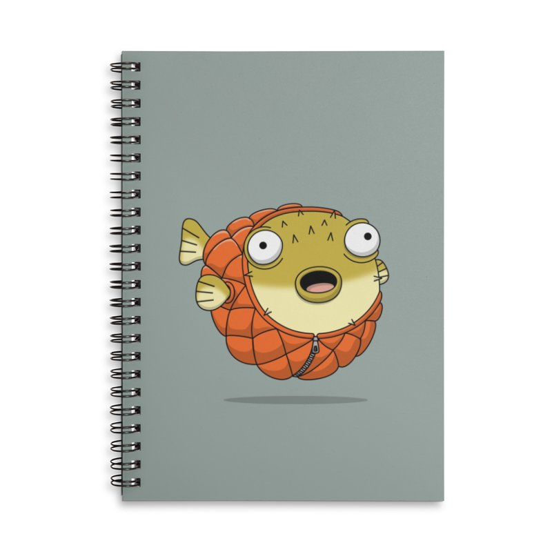Puffer Fish Accessories Lined Spiral Notebook by Pig's Ear Gear on Threadless