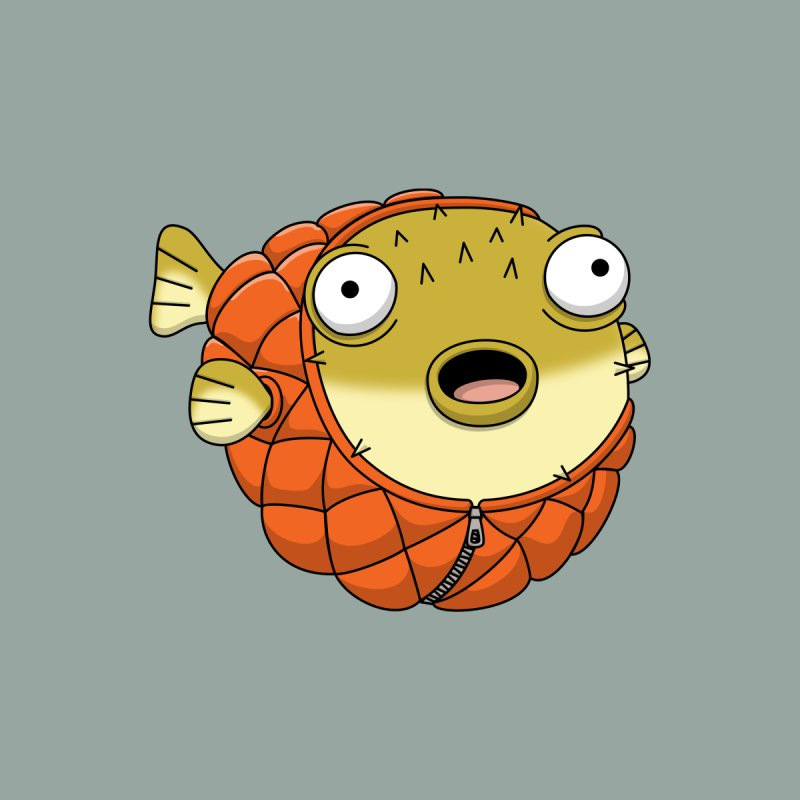 Puffer Fish Home Throw Pillow by Pig's Ear Gear on Threadless