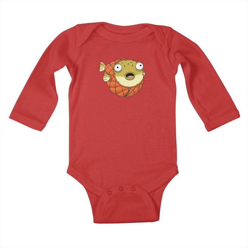 Puffer Fish Kids Baby Longsleeve Bodysuit by Pig's Ear Gear on Threadless