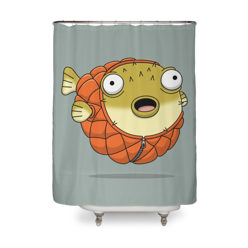 Puffer Fish Home Shower Curtain by Pig's Ear Gear on Threadless