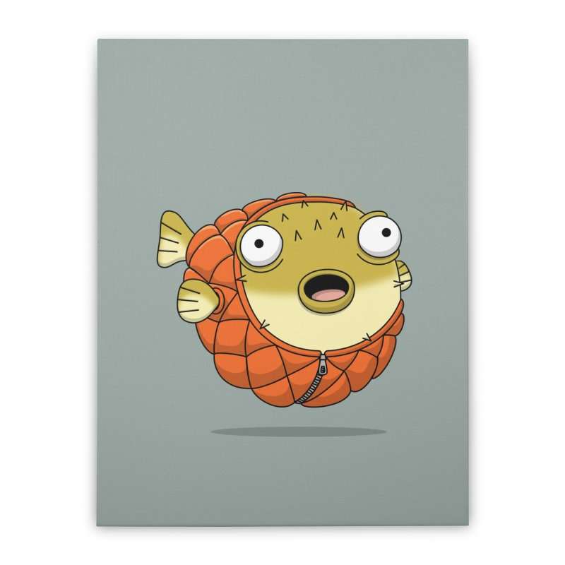 Puffer Fish Home Stretched Canvas by Pig's Ear Gear on Threadless