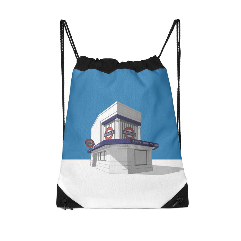 Trinity Road (Tooting Bec) Accessories Drawstring Bag Bag by Pig's Ear Gear on Threadless