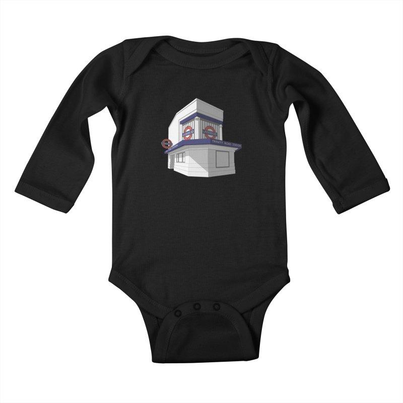 Trinity Road (Tooting Bec) Kids Baby Longsleeve Bodysuit by Pig's Ear Gear on Threadless