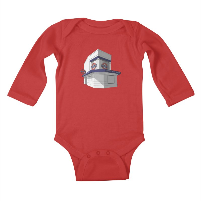 Trinity Road (Tooting Bec) Kids Baby Longsleeve Bodysuit by Pig's Ear Gear on Threadless