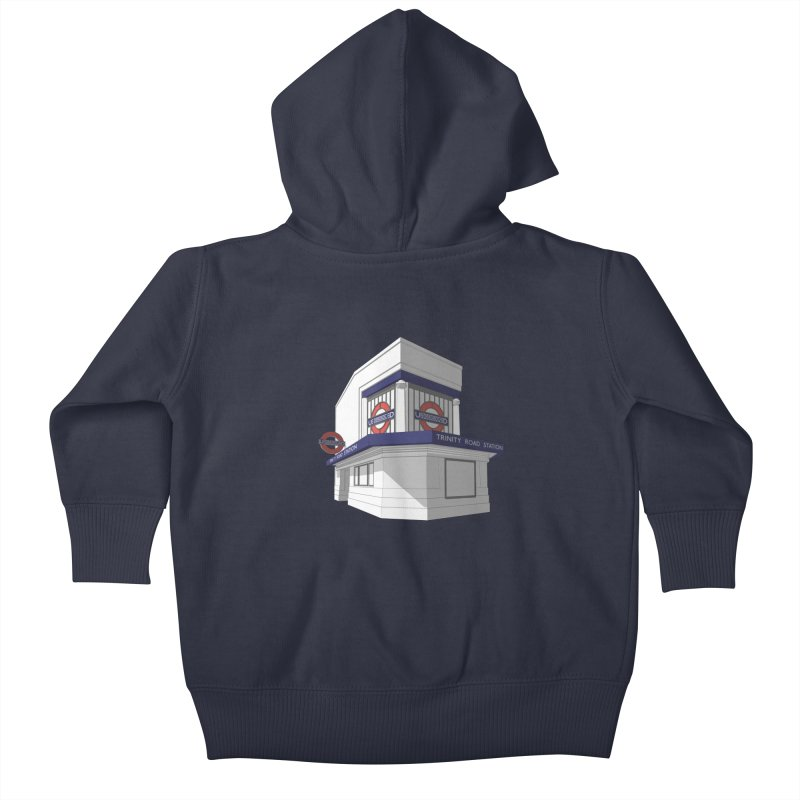 Trinity Road (Tooting Bec) Kids Baby Zip-Up Hoody by Pig's Ear Gear on Threadless