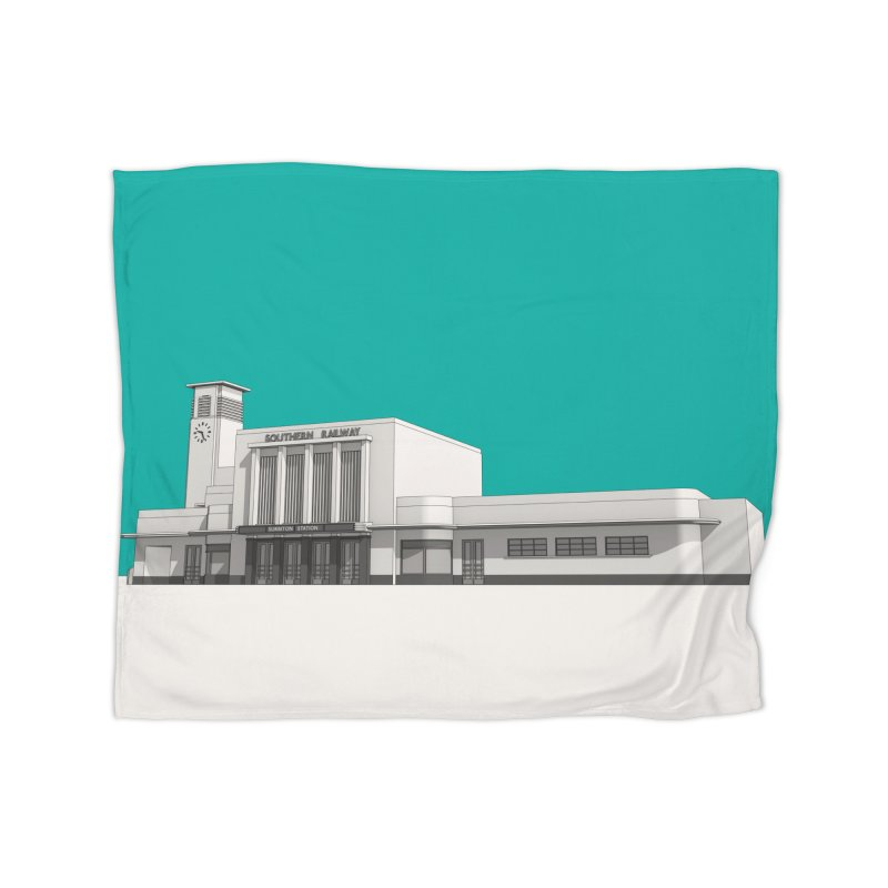 Surbiton Station Home Fleece Blanket Blanket by Pig's Ear Gear on Threadless