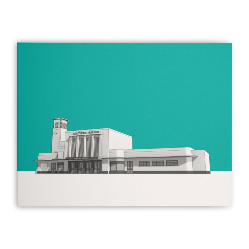 Surbiton Station Home Stretched Canvas by Pig's Ear Gear on Threadless