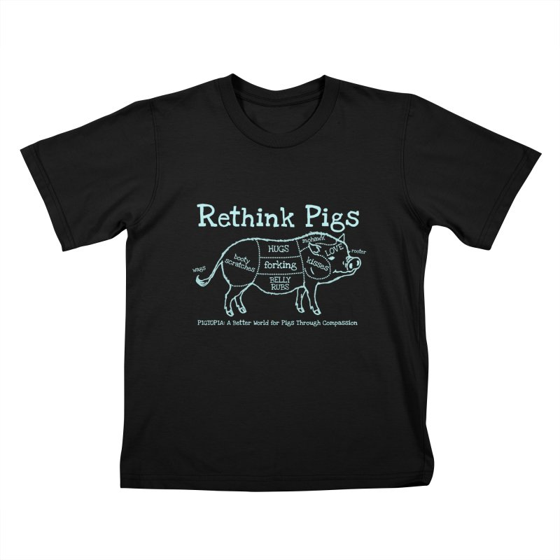 Rethink Pigs Kids T-Shirt by pigtopia's Artist Shop