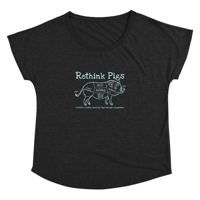 Rethink Pigs Women's Dolman Scoop Neck by pigtopia's Artist Shop