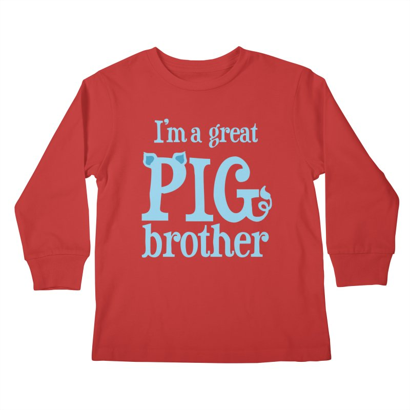 Pig Brother Kids Longsleeve T-Shirt by pigtopia's Artist Shop