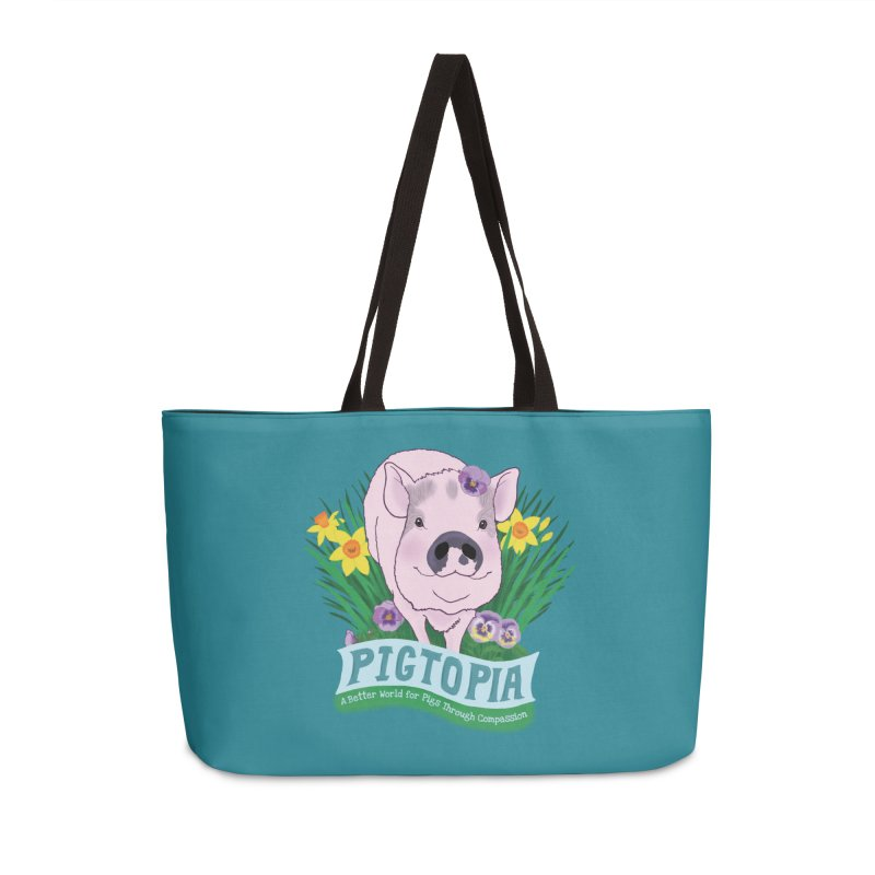 Pigtopia Official Logo Gear Accessories Weekender Bag Bag by pigtopia's Artist Shop