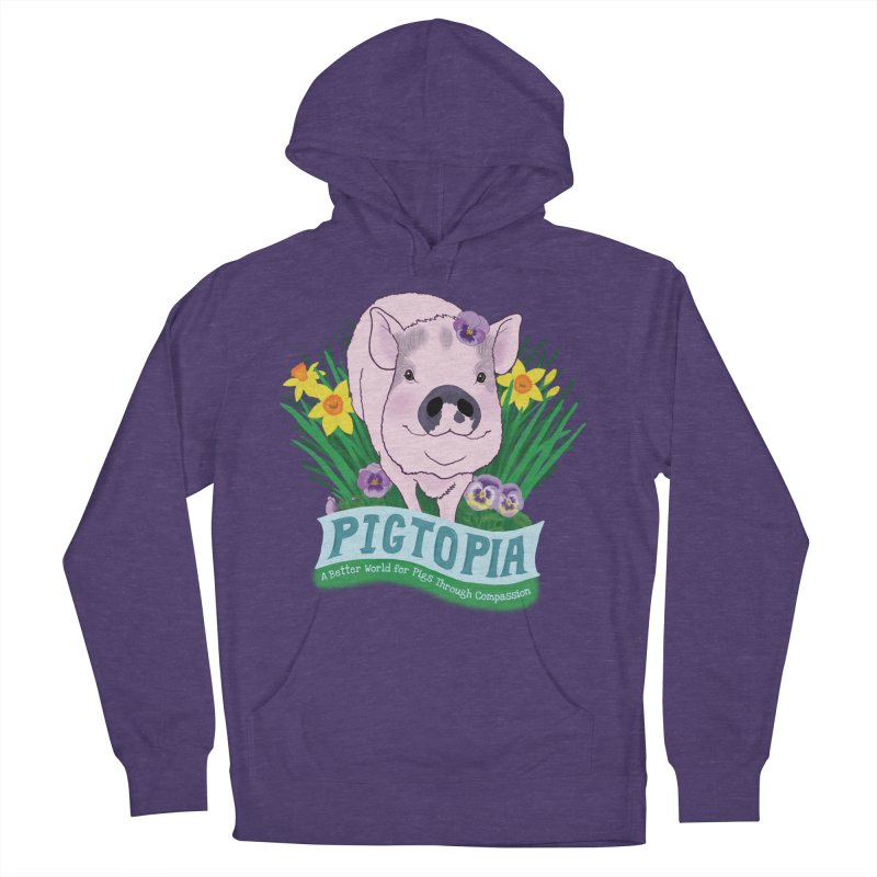 Pigtopia Official Logo Gear in Women's French Terry Pullover Hoody Heather Purple by pigtopia's Artist Shop