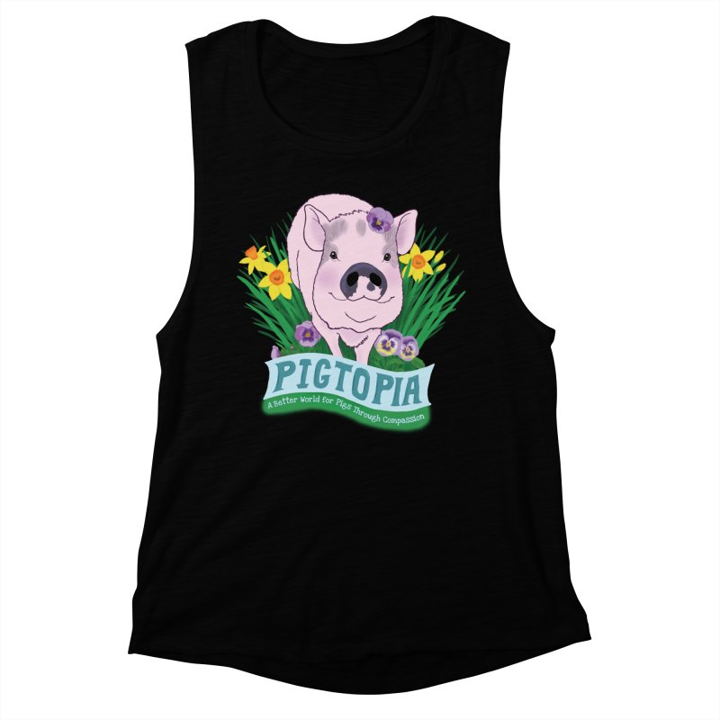 Pigtopia Official Logo Gear Women's Muscle Tank by pigtopia's Artist Shop