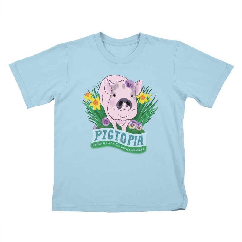 Pigtopia Official Logo Gear Kids T-Shirt by pigtopia's Artist Shop
