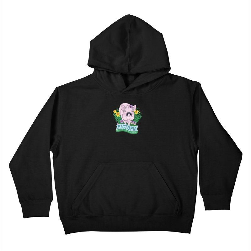 Pigtopia Official Logo Gear Kids Pullover Hoody by pigtopia's Artist Shop