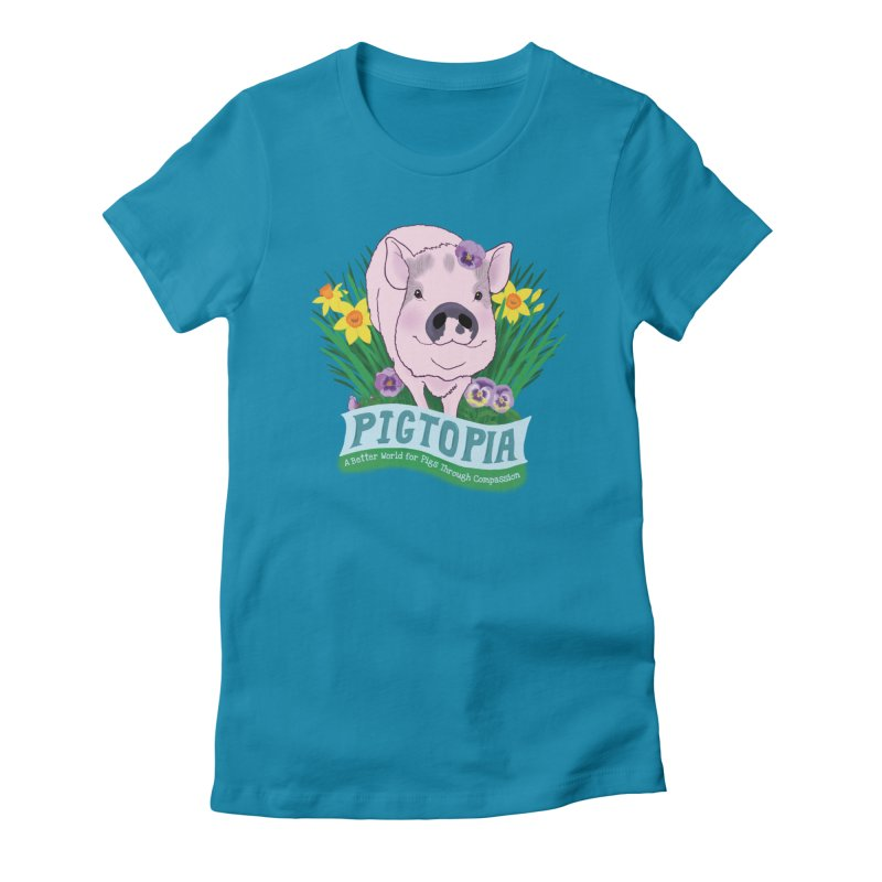 Pigtopia Official Logo Gear in Women's Fitted T-Shirt Turquoise by pigtopia's Artist Shop