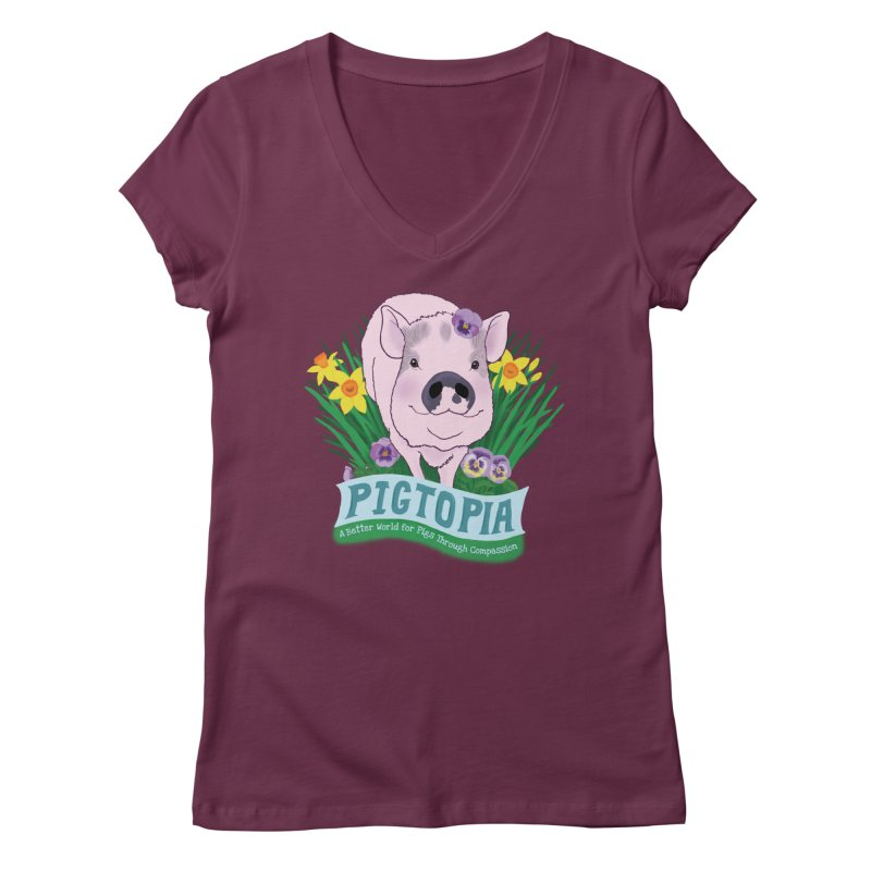 Pigtopia Official Logo Gear Women's Regular V-Neck by pigtopia's Artist Shop