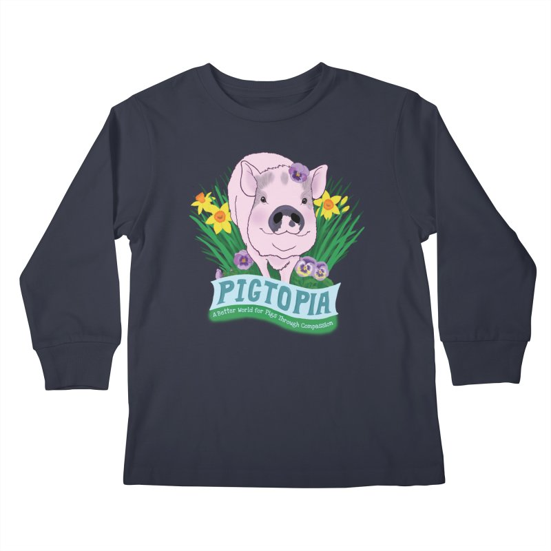 Pigtopia Official Logo Gear Kids Longsleeve T-Shirt by pigtopia's Artist Shop