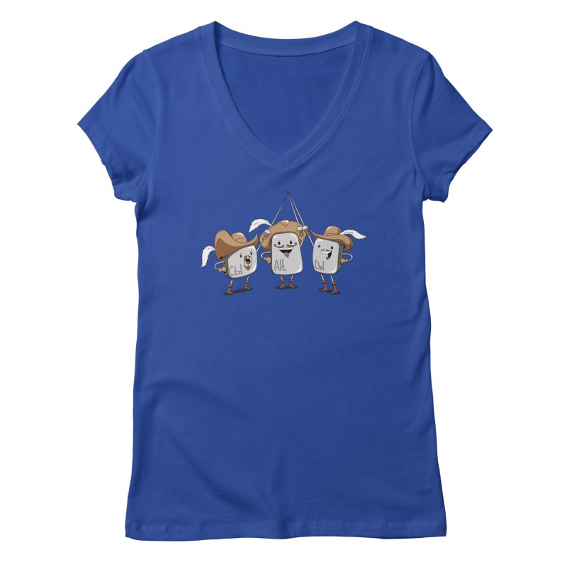 The Three Mus-key-teers Women's V-Neck by Pijaczaj