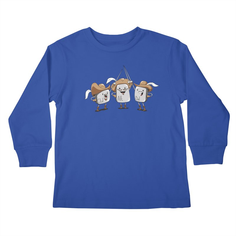 The Three Mus-key-teers Kids Longsleeve T-Shirt by Pijaczaj
