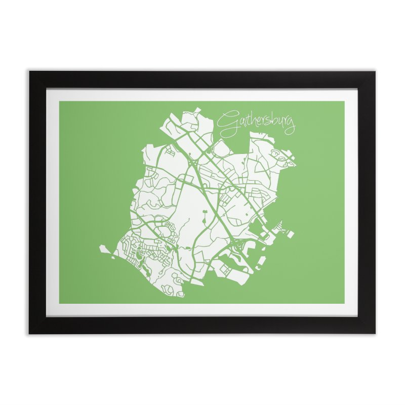 Gaithersburg Map Home Framed Fine Art Print by @pike.and.rozay