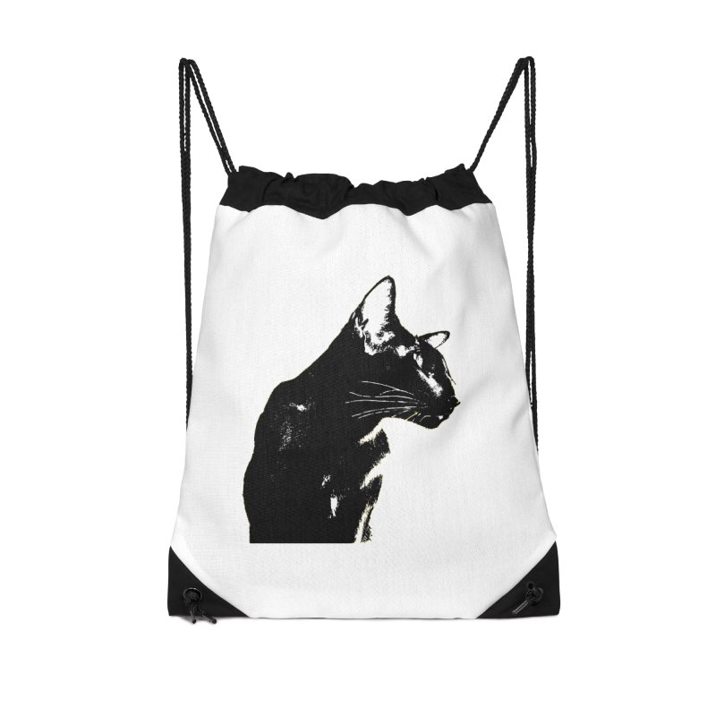 Mr. C. Black (black & white) Accessories Drawstring Bag Bag by pikeart's Artist Shop
