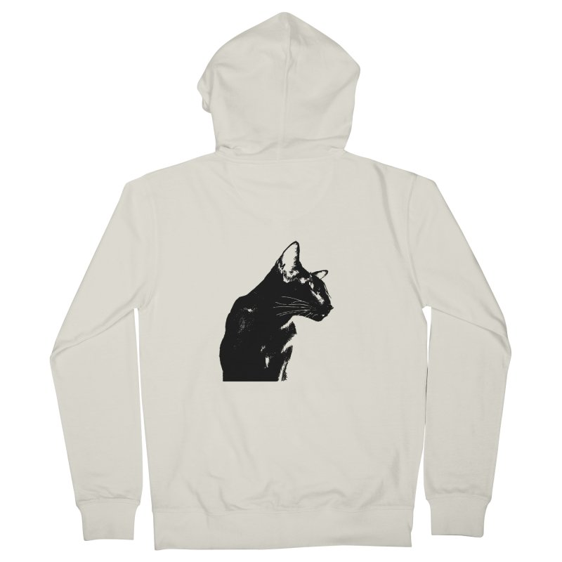 Mr. C. Black (black & white) Women's French Terry Zip-Up Hoody by pikeart's Artist Shop