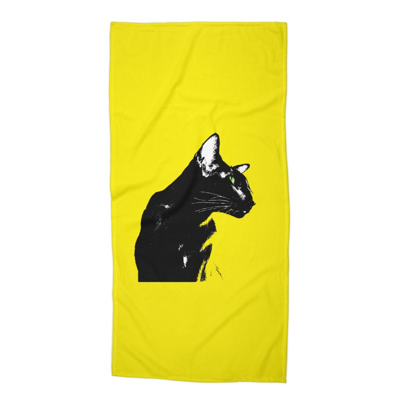 Mr. C. Black - Yellow Accessories Beach Towel by pikeart's Artist Shop