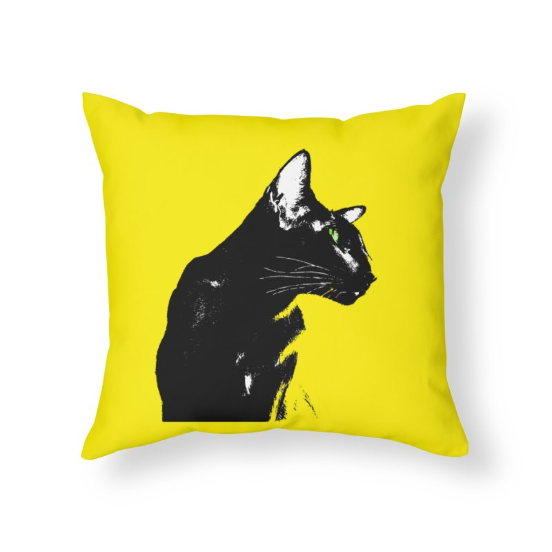 Mr. C. Black - Yellow Home Throw Pillow by pikeart's Artist Shop