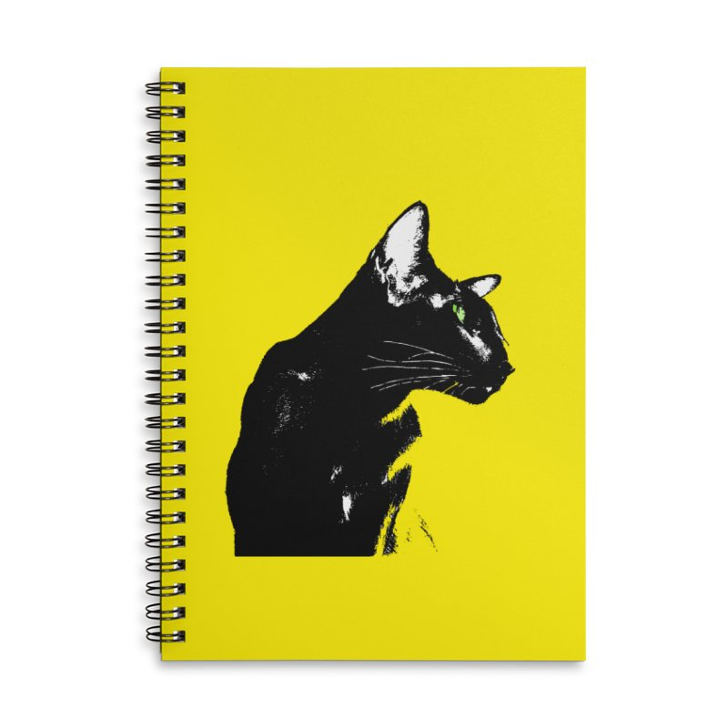 Mr. C. Black - Yellow Accessories Lined Spiral Notebook by pikeart's Artist Shop